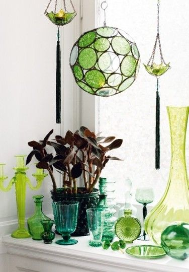 green glass grouping: