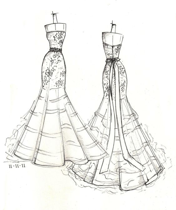 FRONT and BACK dress sketch of YOUR special dress - a perfect gift.... $129.00, via Etsy.