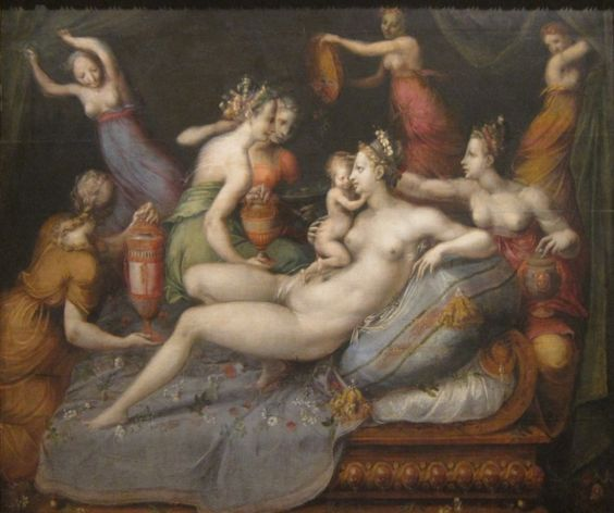 The Birth of Cupid by the Master of Flora (Fontainebleau school), mid-16th century, oil on wood
