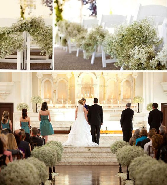 Wedding Altar And Aisle Decor: Baby's Breath Aisle Decor!