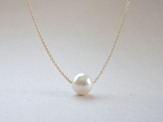 Wedding Gift Necklace: Single Pearl Necklace, Floating Pearl Necklace, Bridal