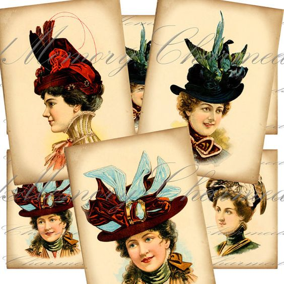 Victorian Ladies Hats Digital Collage by CharmedMemoryCollage