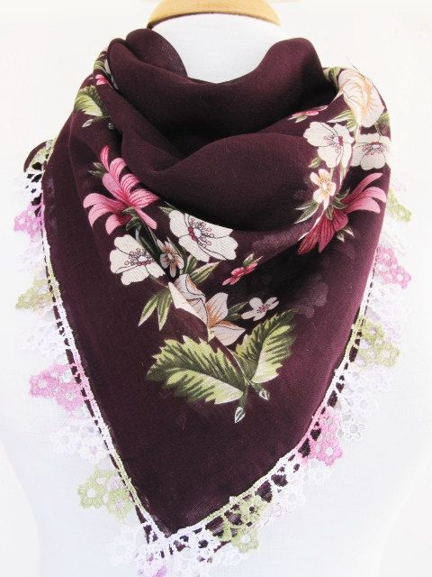 Traditional Cotton Yemeni Scarf With Lace by mediterraneanlights, $16.90