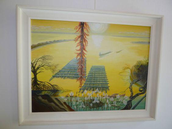 Ölbild Gemälde Annemarie Burchardt Brasilien Amanzonas phantastischer Realismus in Antiquitäten & Kunst, Malerei, Gemälde 1950-1999 | eBay