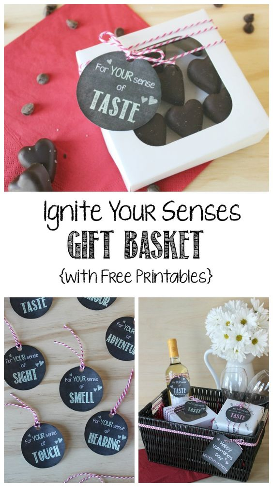 Ignite Your Senses Gift Basket with MANY free chalkboard printables for any occasion! Wedding shower, birthday, anniversary, Valentine's Day, or just because :)