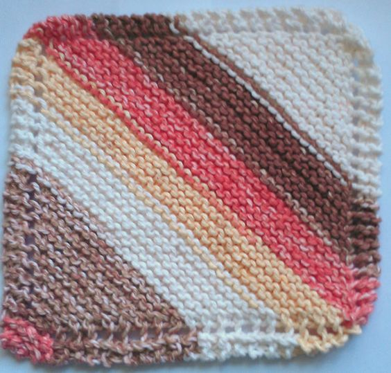 Natural Stripes Knit Dish or Wash Cloth by AJoyfulCreation on Etsy, $5.00