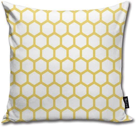 Hexagonal Pattern Honeycomb Beehive Simplistic Geometrical Monochrome Sofa Car Decorative Cotton Blend T Throw Pillow Cases Throw Pillows Natural Throw Pillows