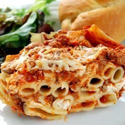 a simple baked ziti strikes it rich with layers of sour cream, and three kinds of italian cheese. ready-made spaghetti sauce reduces the prep time, and ground meat is optional.