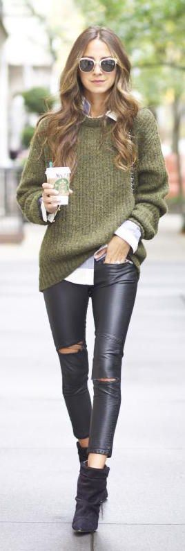 faux leather pants + a chunky fall sweater