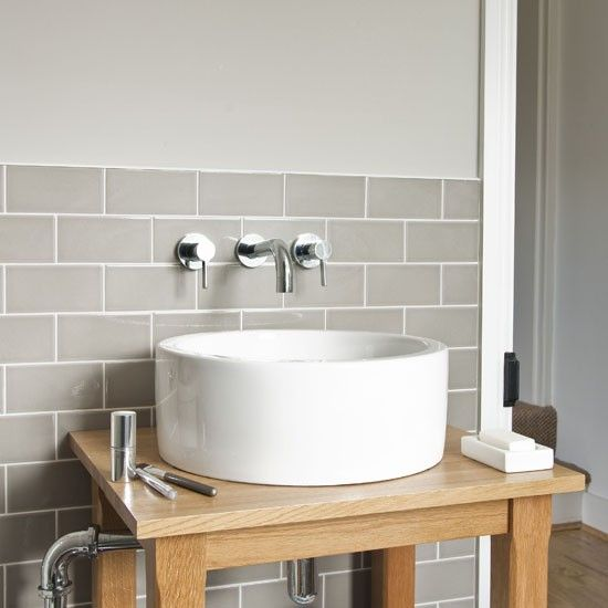 Grey Small Bathroom Ideas: Tile, Round Sink And Small Bathrooms On Pinterest