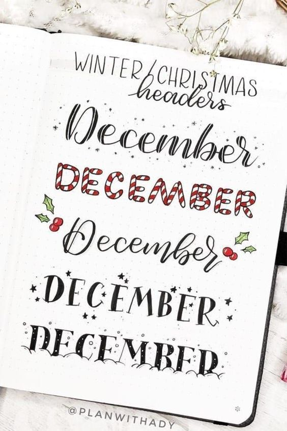 Décember lettering ideas -@planwithady