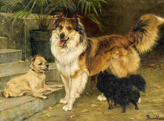 Adeline von Reventlow: Porträt dreier Hunde an der Gartentreppe aus unserer Rubrik: Gemälde des 19. Jahrhunderts
