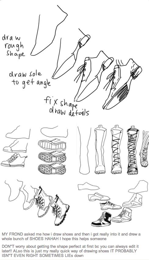 Tutorial On How To Draw Different Types Of Shoesboots For
