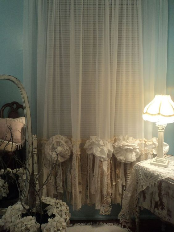 2 sheer vintage lace curtain panels window treatment. Black Bedroom Furniture Sets. Home Design Ideas