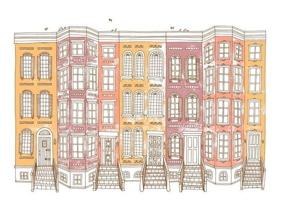 Rowhouses - screen print by Jenskelley