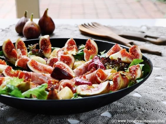 Fig, Prosciutto & Pear Salad from Hungry Australian. Almost time for fresh figs!: