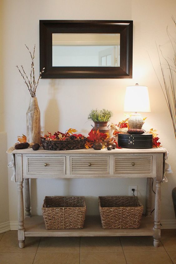 Foyer Console Decorating Ideas : Fall decor foyer table let s decorate pinterest tvs