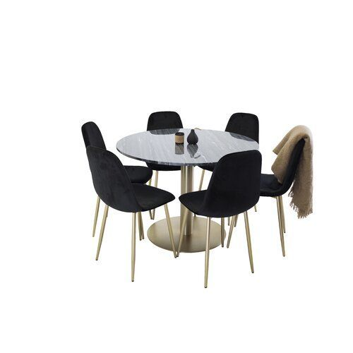 Essgruppe Mabel Mit 6 Stuhlen Canora Grey Farbe Tischplatte Schwarz Farbe Tischgestell Gold Far Grey Round Dining Table Colorful Table Adjustable Table