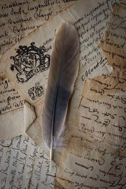 ♂ Aged with beauty feather pen with hand writing: