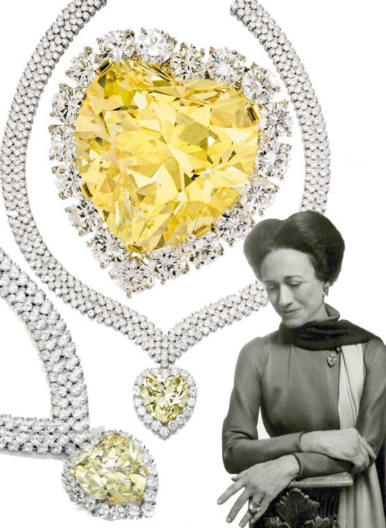 'The Windsor Heart' Yellow Diamond. 47.14cts yellow diamond was bought by the Duke of Windsor for the Duchess (Wallis Simpson) in 1951 from Harry Winston to complement her other yellow diamond and set in a ring. The stone was later acquired by Estée Lauder, set in a pendant and sold by the Lauder family in 2012 in aid of Breast Cancer Research Foundation.: