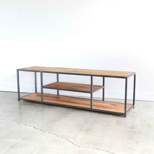 Modern Tv Console Reclaimed Wood Steel Media Stand What We
