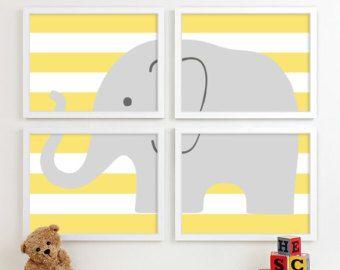 Pépinière d'éléphant Art Chevron Nursery bébé par DallowayPlaceKids