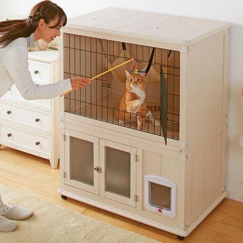 トイレ専用スペース付きの理想的なキャットルーム 猫ハウス ペットの部屋 猫の屋外ケージ