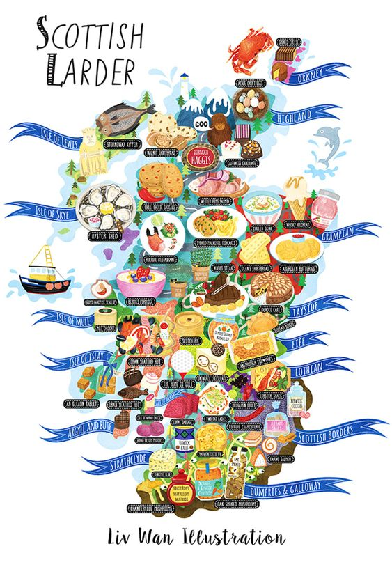 Delicious Scotland food map illustration illustrated by Edinburgh – Train Travel In Scotland Map