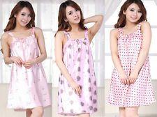 Women Summer Intimates Strap Pajamas Night Gown Sleepshirt Sleepwear Skirt Pink: