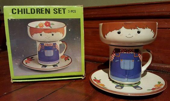 *NIB Vintage Interpur Stacking Boy Complete Plate Bowl Cup Mug Mint Children set