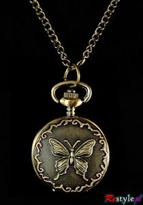 Vintage style butterfly watch necklace