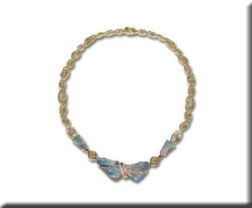 18K Yellow Gold Australian Boulder Opal/Diamond Neckpiece