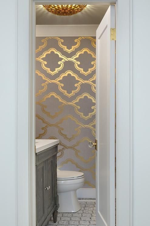 Pin By Wendy Lovee On Color Combinations Grey And Gold Wallpaper Powder Room Wallpaper Powder Room