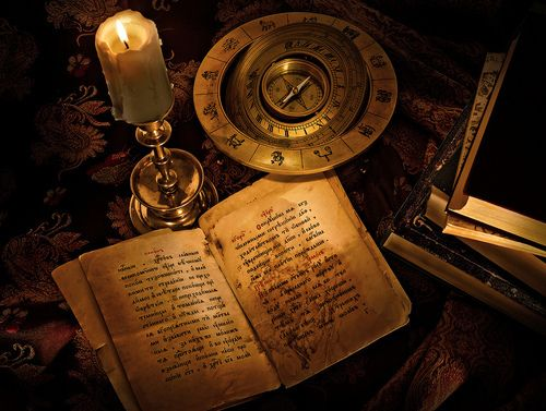 Notes, Candle, Compass, Books