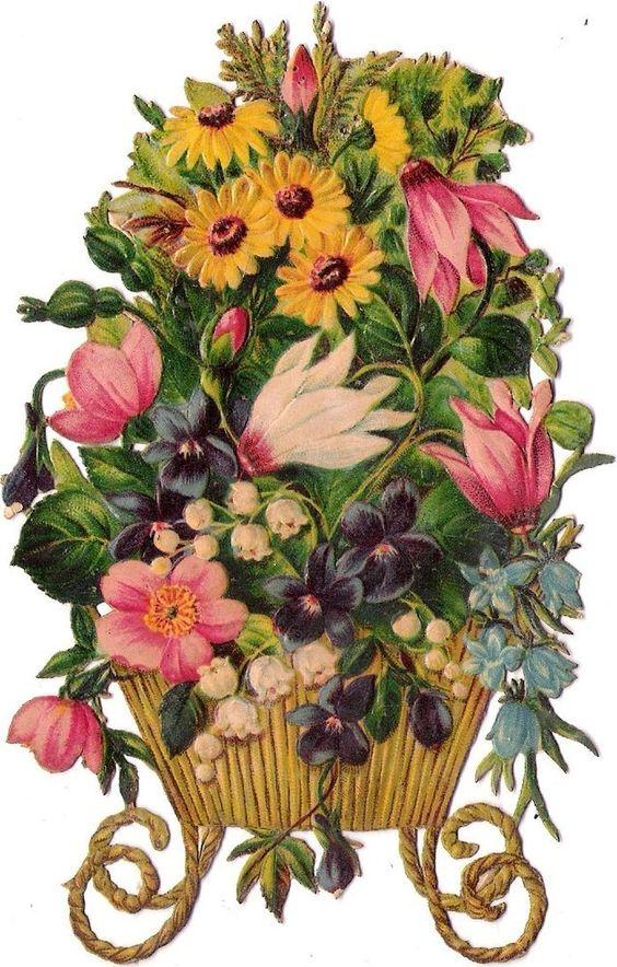 Oblaten Glanzbild scrap diecut chromo Blumen Korb  14cm flower basket Veilchen: