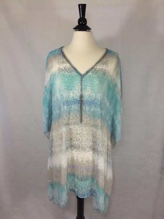 "NEW CHICO'S $119 Dreaming Python Caftan Cool Multi Sheer 30"" Womens Top NWT #Chicos #Caftan #EveningOccasion"