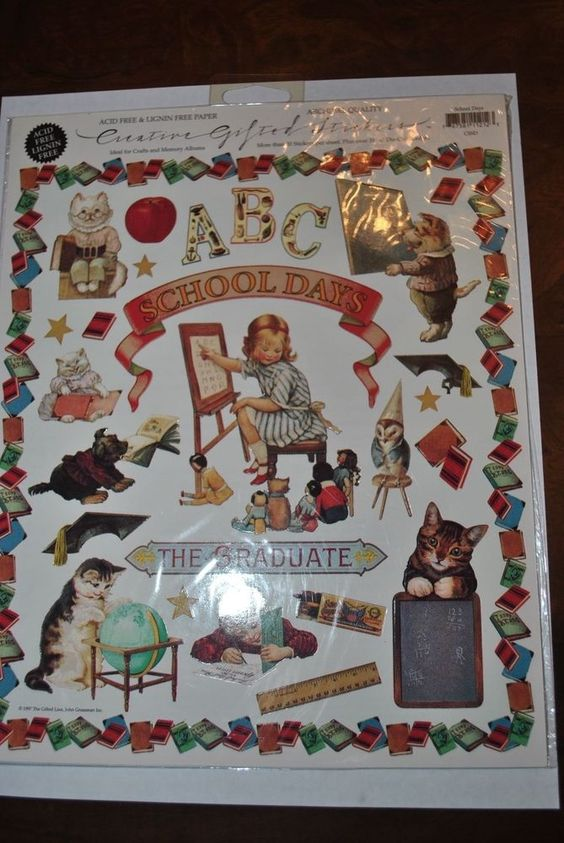 Vintage Creative Gifted Line School Days Kittens Stickers Borders 1997 #GiftedLine