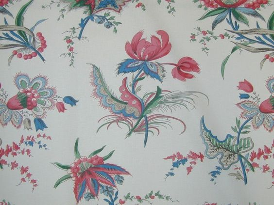 Titley & Marr Tetbury Red Blue Cotton Curtain Fabric. Top Quality Designer Fabrics At The Millshop Online