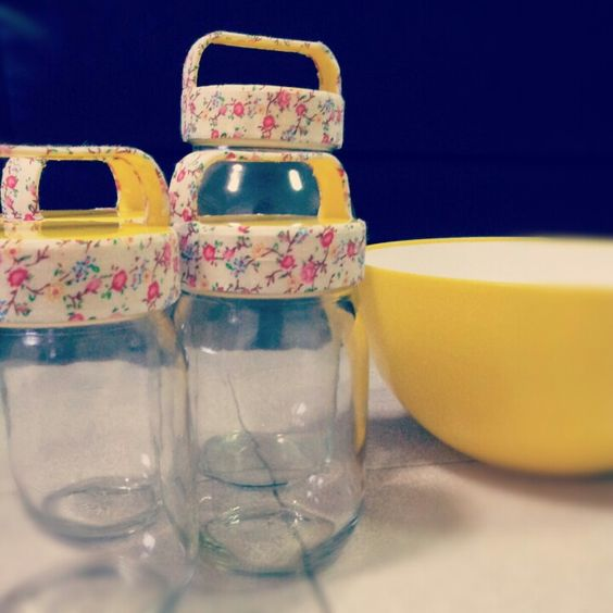 DIY jar. Jars from Daiso + flower tape from Daiso.