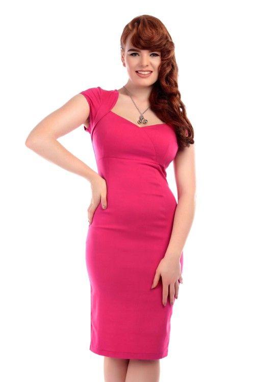 Collectif 50s Regina Bengaline Pencil Dress Pink