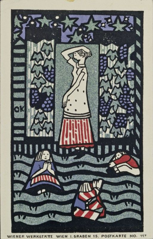 Oskar Kokoschka - Weinlese. Wunschkarte. Wiener Werkstätte-Postkarte No. 117.
