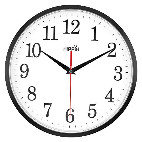 Yoobure 10 Silent Quartz Wall Clock Non Ticking Decorative Clock Operated Round Black Clock Easy To Read Home Office Classroom School Clock Gift Options Sh In 2020 Large Wall Clock Wall Clock Large Wall