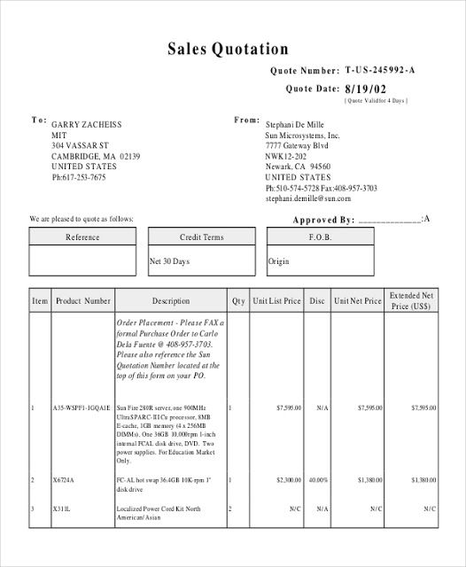 Printable Quotation Template In Excel And Doc Quotation Sample