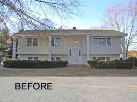 60 39 s bi level to modern farm house for the home for Split level addition before and after