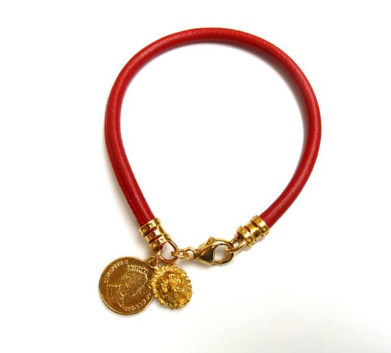 Red Italian soft leather 14k gold plated coin by Symbolinajewelry