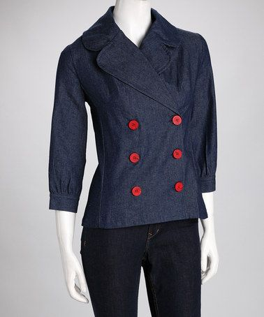 Take a look at this Navy Denim Miro Jacket by Kayce Hughes on #zulily today!