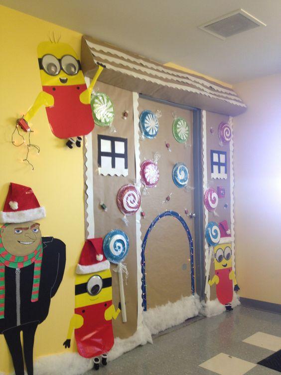 Minion Classroom Decoration Ideas ~ Christmas minion gingerbread door decorations