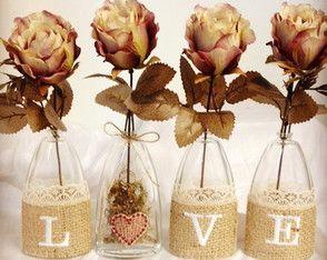 Vasinhos LOVE com flor Marsala