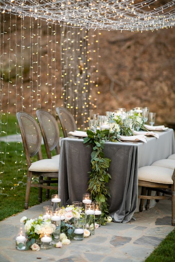 Blush and Grey Wedding Inspiration With a Light Tunnel #greenery #tabledecor #stunning #Weddingideas #tabledecor