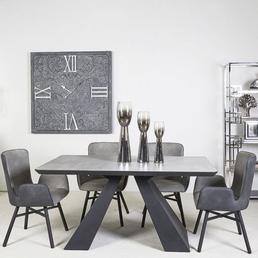 Axel Black And Grey Wooden Dining Table, Black Wooden Dining Chairs Set Of 4